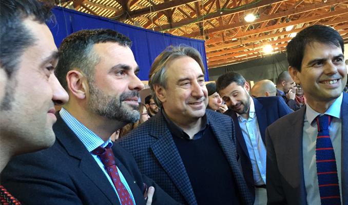 Juanjo Puigcorbé en una visita durant 'La Mostra d'Igualada'