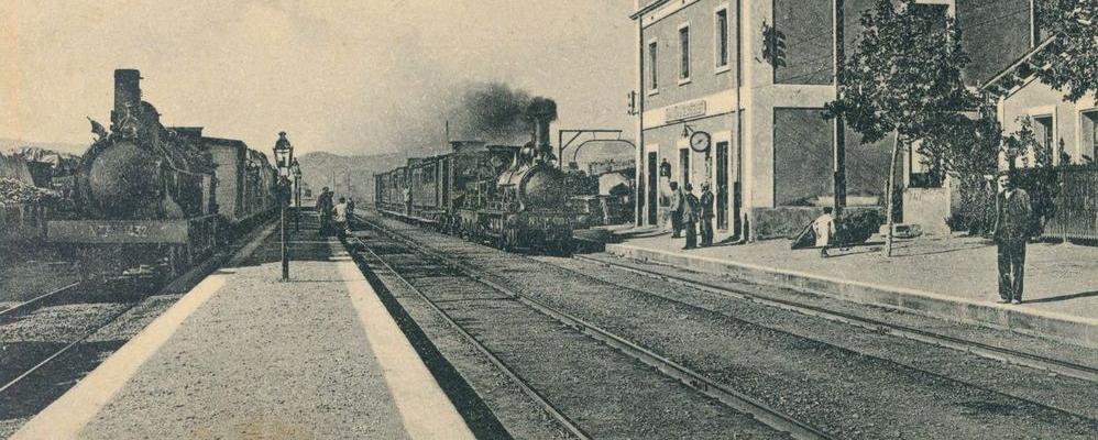 Detall d'època de la màquina de tren