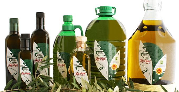 Ampolles d'oli de la cooperativa Baró de Maials