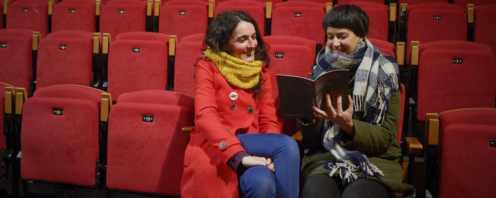 Clara Cols i Roser Blanch al teatre Cal Bolet