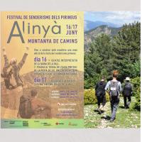 Fragment del cartell de l'Alinyà muntanya de camins