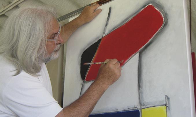 Joan Baptista Cabré Sendrós al seu estudi de Cambrils