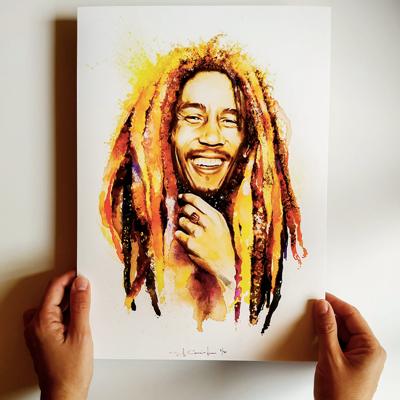 Retrat, Bob Marley, Aquarel·la, Sil Cunningham