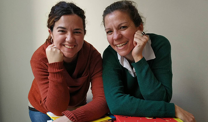 Laia Figueras i la Núria Puyuelo, de l'editorial Nanit
