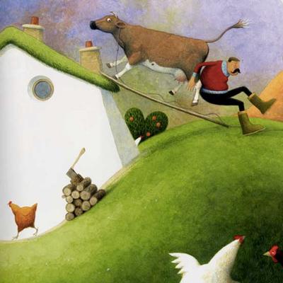 Conte 'Una vaca a la teulada' d'Eric Maddern, il·lustrat per Paul Hess