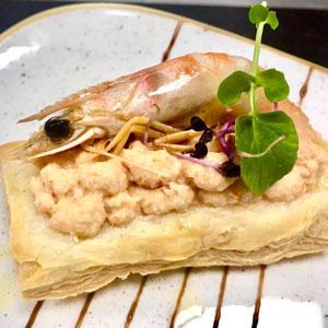 Mil fulls de mousse de llagostí de Sant Carles - Hotel Restaurant Diego