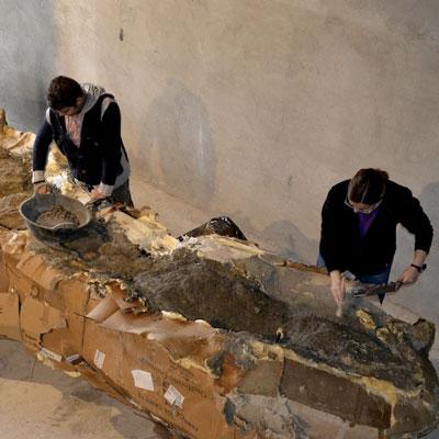 Restauració del Coll de Titanosaure d'Orcau