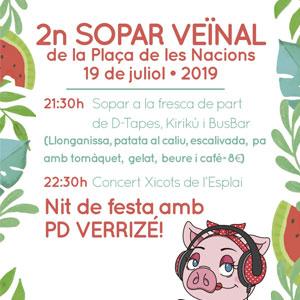 Sopar a Fresca, 2on sopar veïnal a la Plaça de les Nacions, Tàrrega, 2019