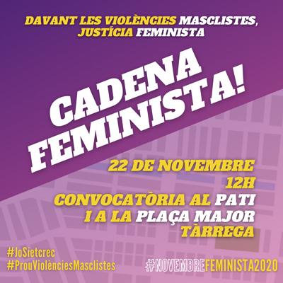 Dia Internacional per a l'Eliminació de la Violència envers les Dones a Tàrrega, 2020