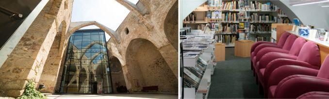 Imatge exterior i interior de la Biblioteca Sant Agustí