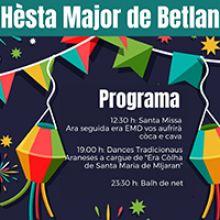 Fragment del programa de la Festa Major de Betlan, a la Val d'Aran